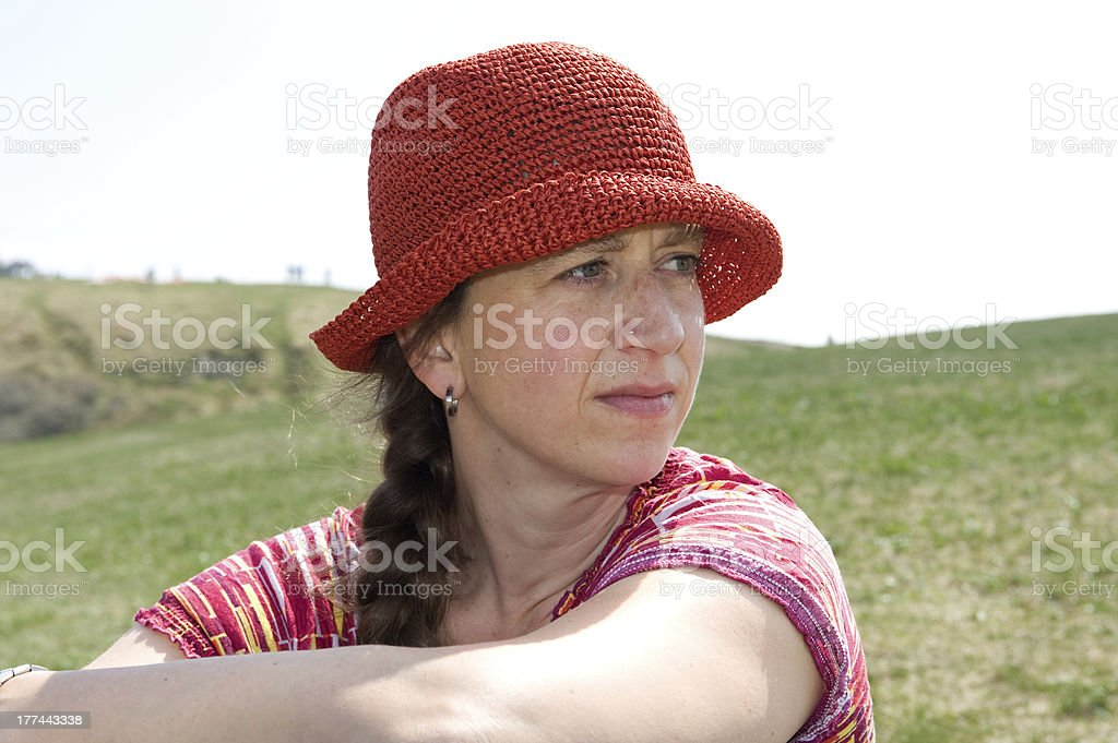 woman with red cap royalty-free stock photo