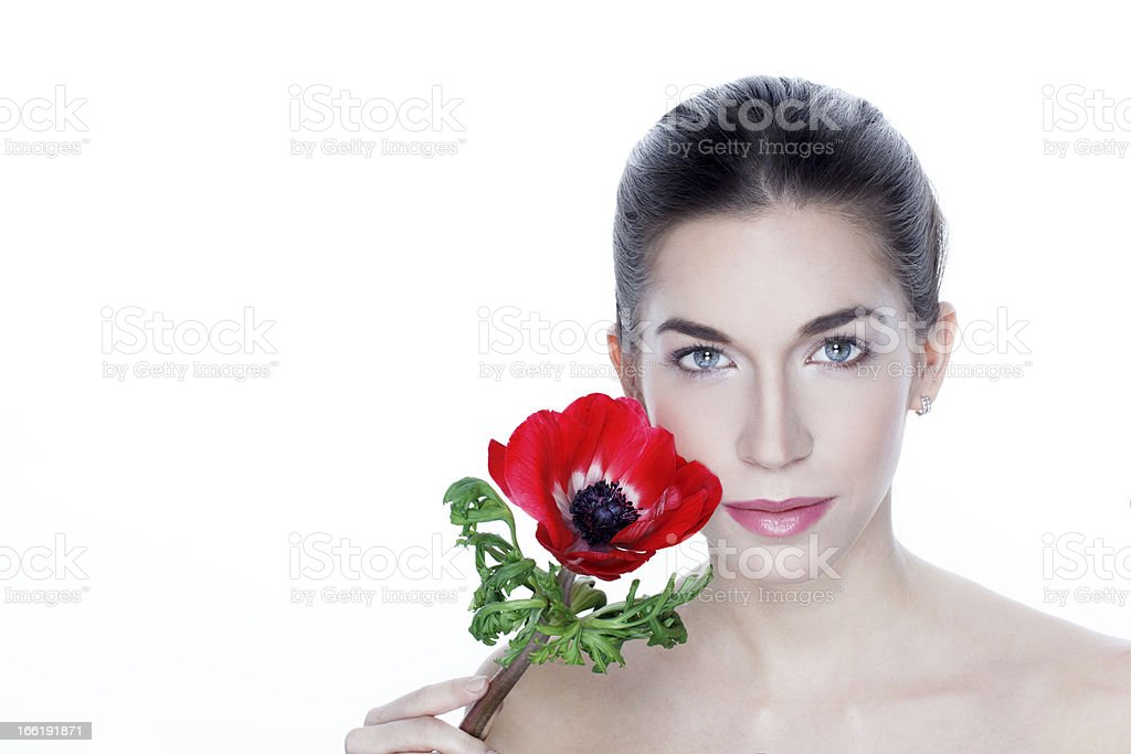 Woman with red flower royalty-free stock photo