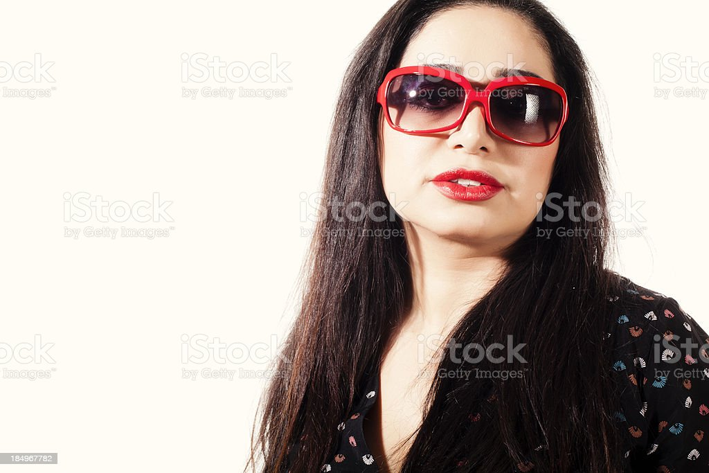 Woman with red glasses royalty-free stock photo