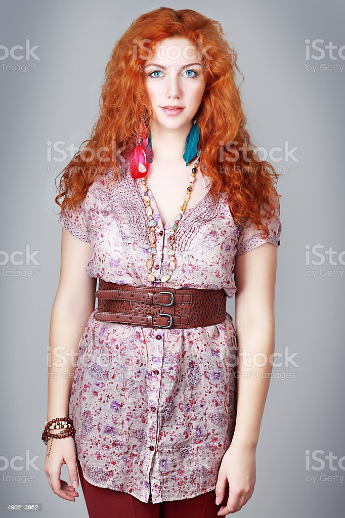 woman with red hair stock photo