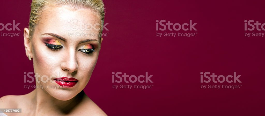 Woman with red lips royalty-free stock photo