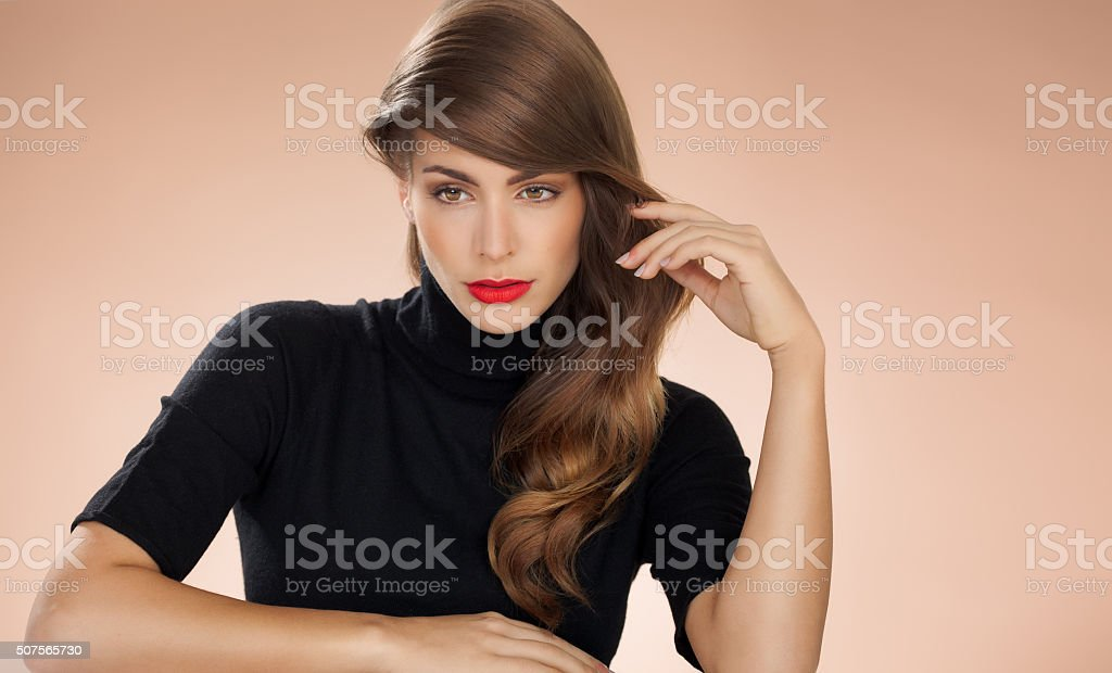 Woman With Red Lipstick stock photo