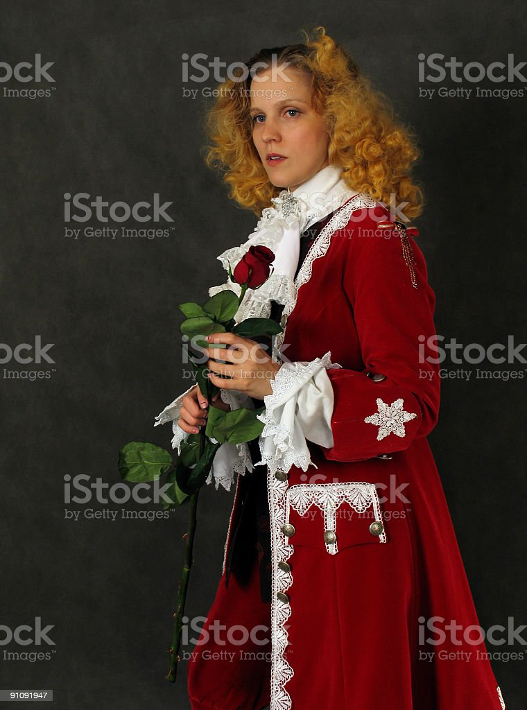 Woman with red rose royalty-free stock photo