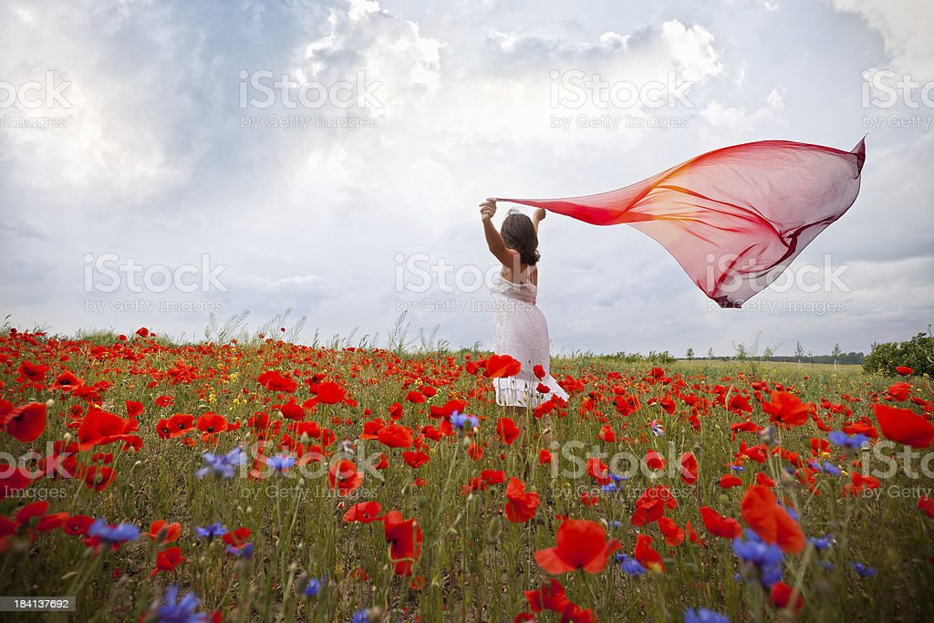 Woman with red scarf royalty-free stock photo