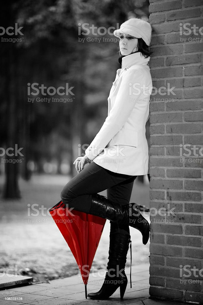 Woman with Red Umbrella royalty-free stock photo