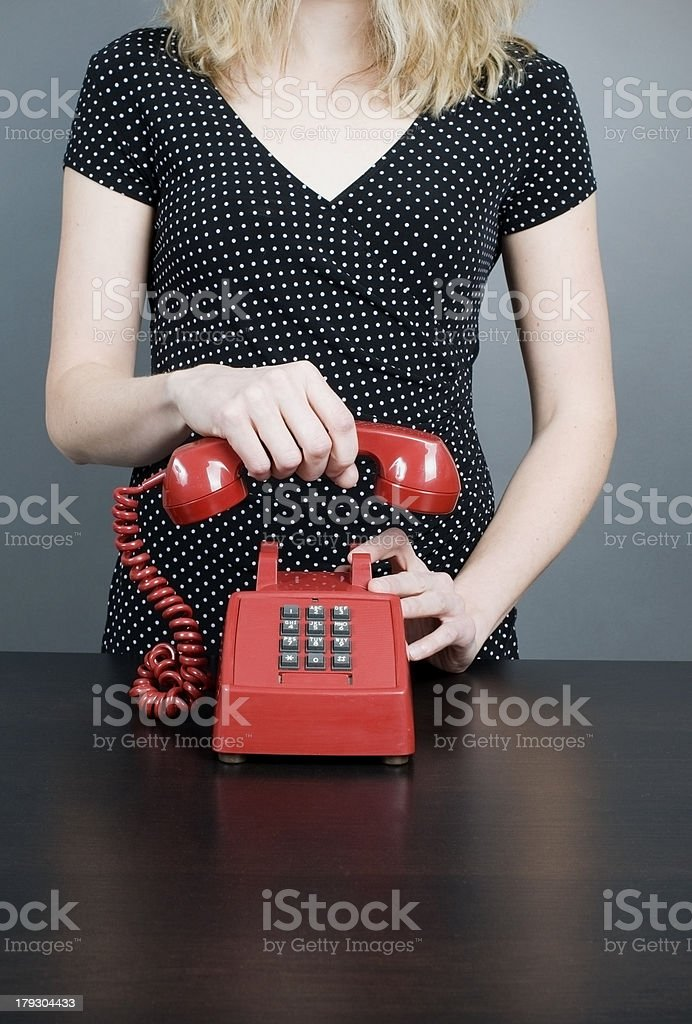 Woman with Red, Vintage Telephone stock photo
