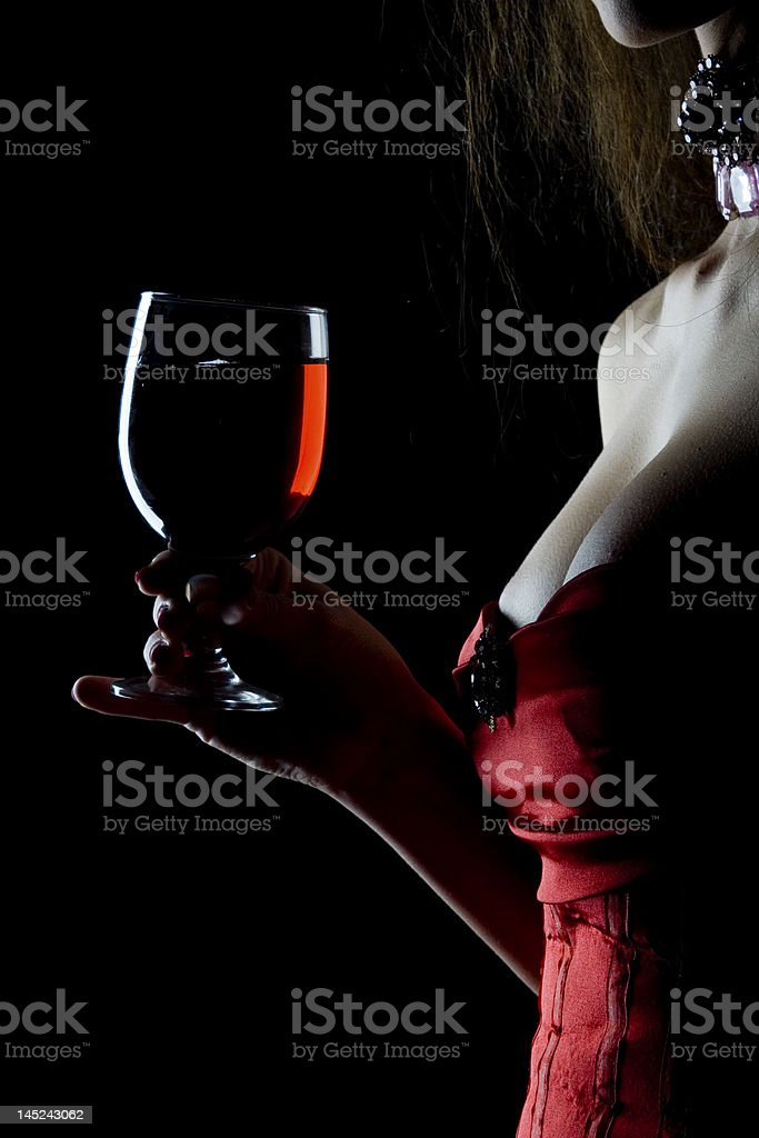 woman with red wine stock photo
