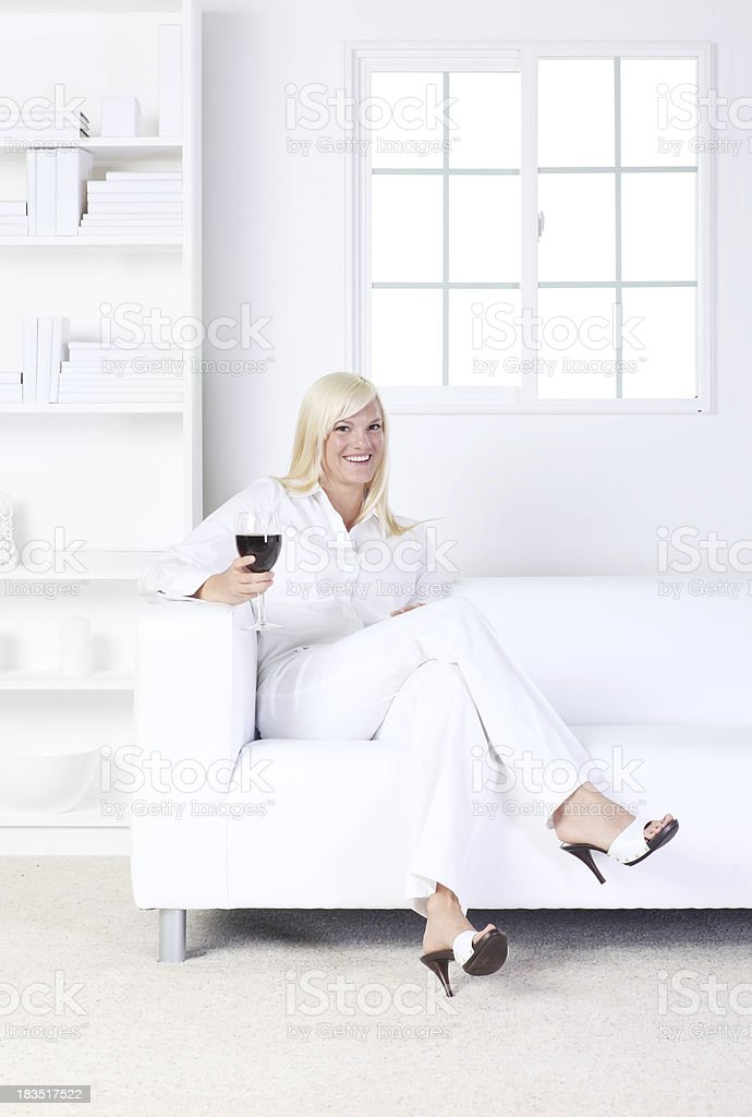 Woman with red wine royalty-free stock photo