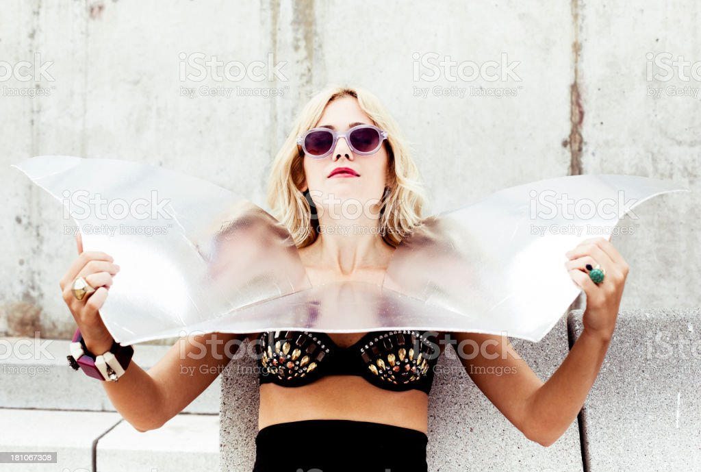 Woman with retro bikini stock photo