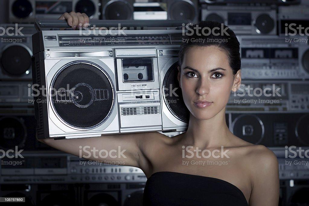 Woman with retro Boom Box royalty-free stock photo