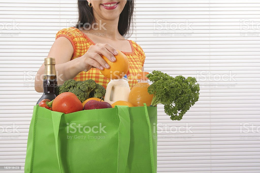 Woman With Reusable Shopping Bag royalty-free stock photo