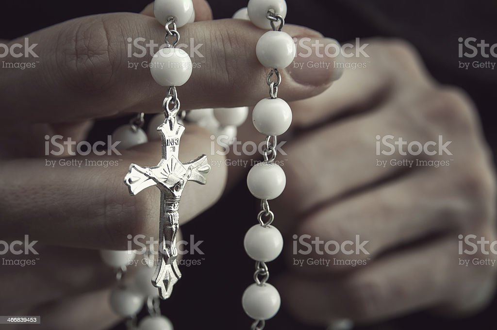 Woman  with rosary royalty-free stock photo