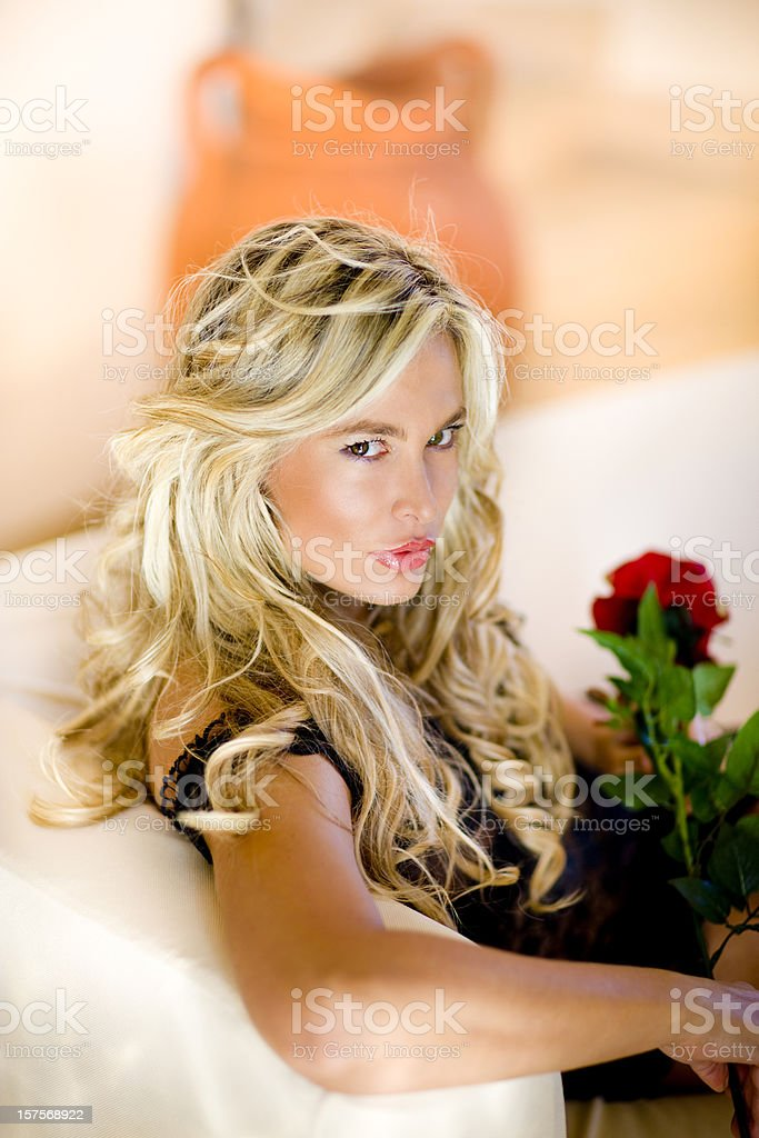 woman with rose royalty-free stock photo
