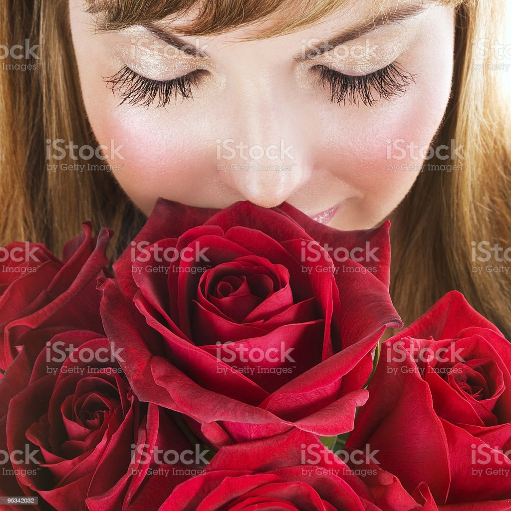 Woman with roses stock photo