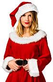 Woman with santa claus outfit portrait