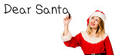 Woman with santa claus outfit write with marker