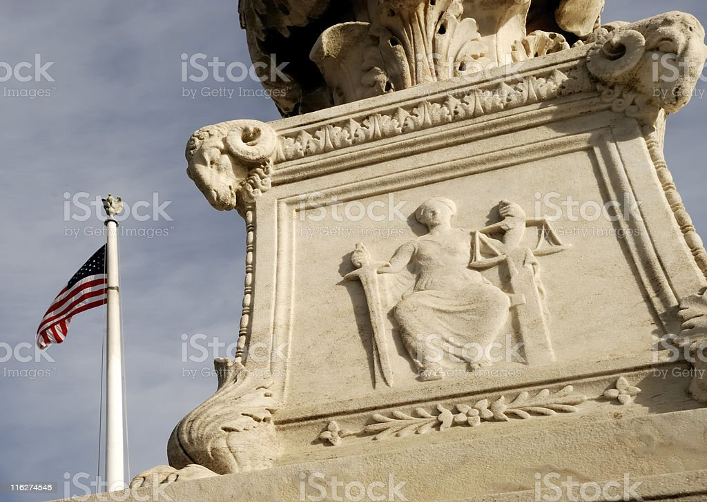 Woman with scales of justice stock photo