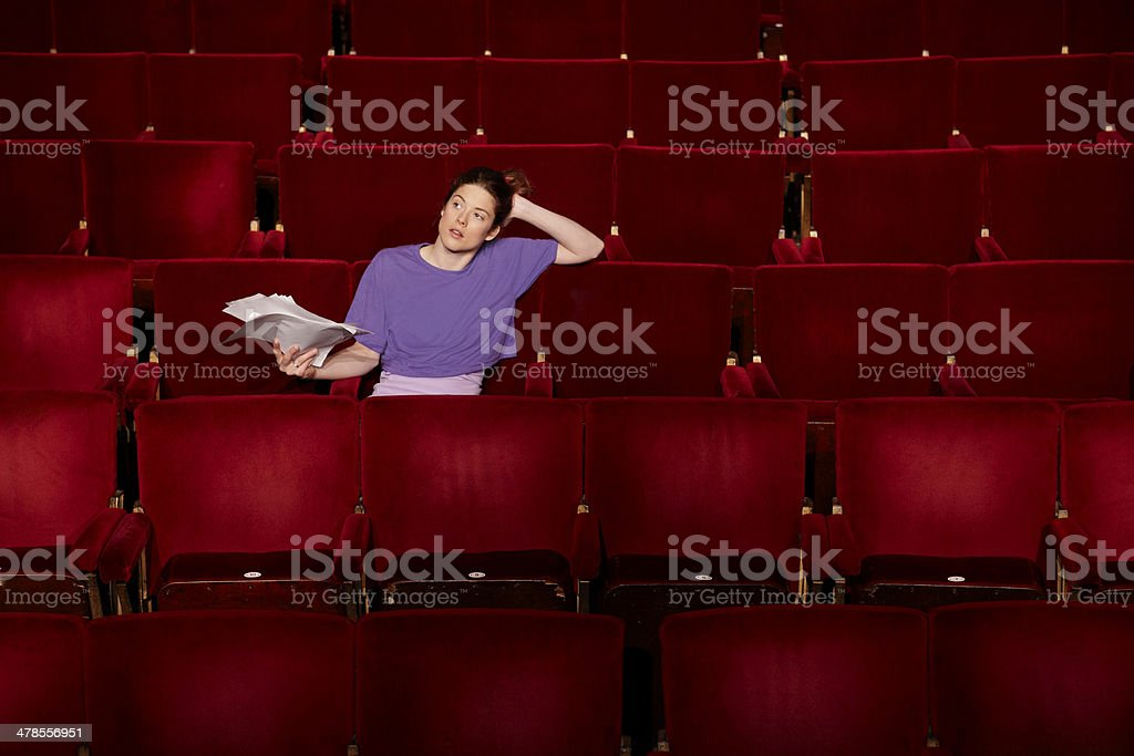 Woman With Script At Theatre Stall stock photo