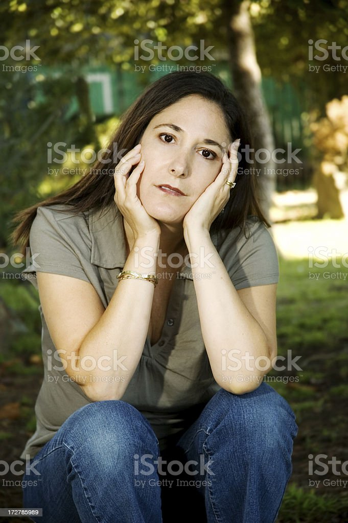 Woman with serious/sad expression (series) royalty-free stock photo
