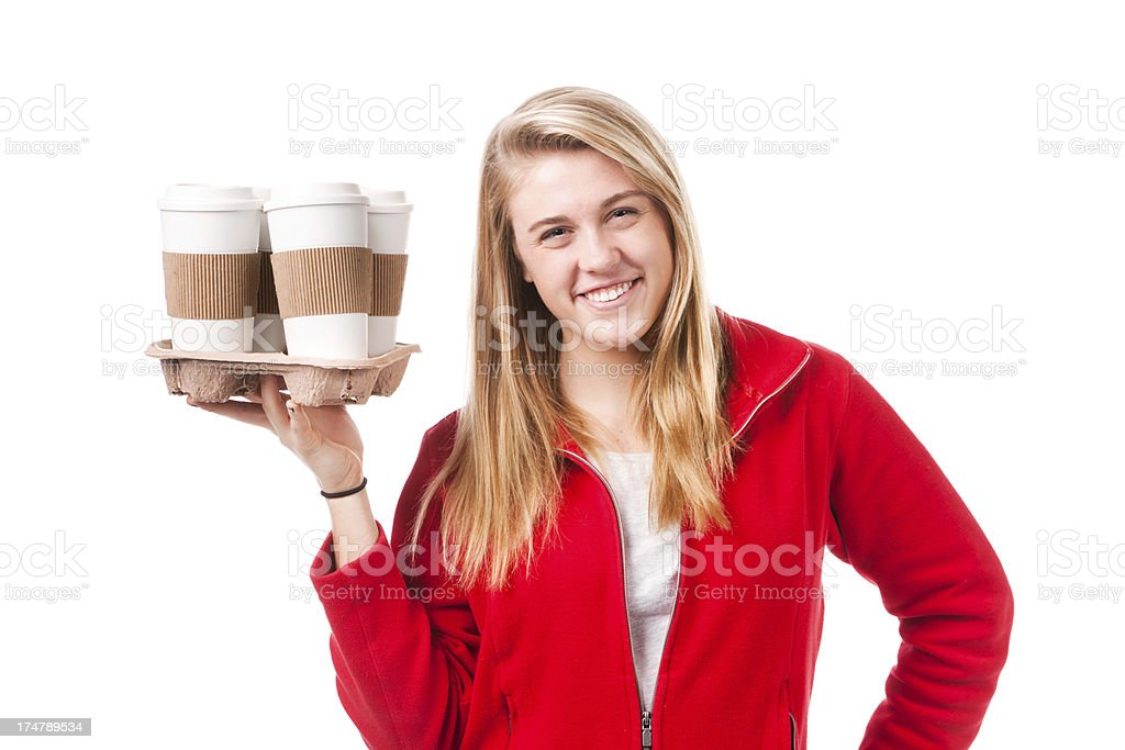 Woman with Several Cups of Take Out Hot Drink Coffee royalty-free stock photo
