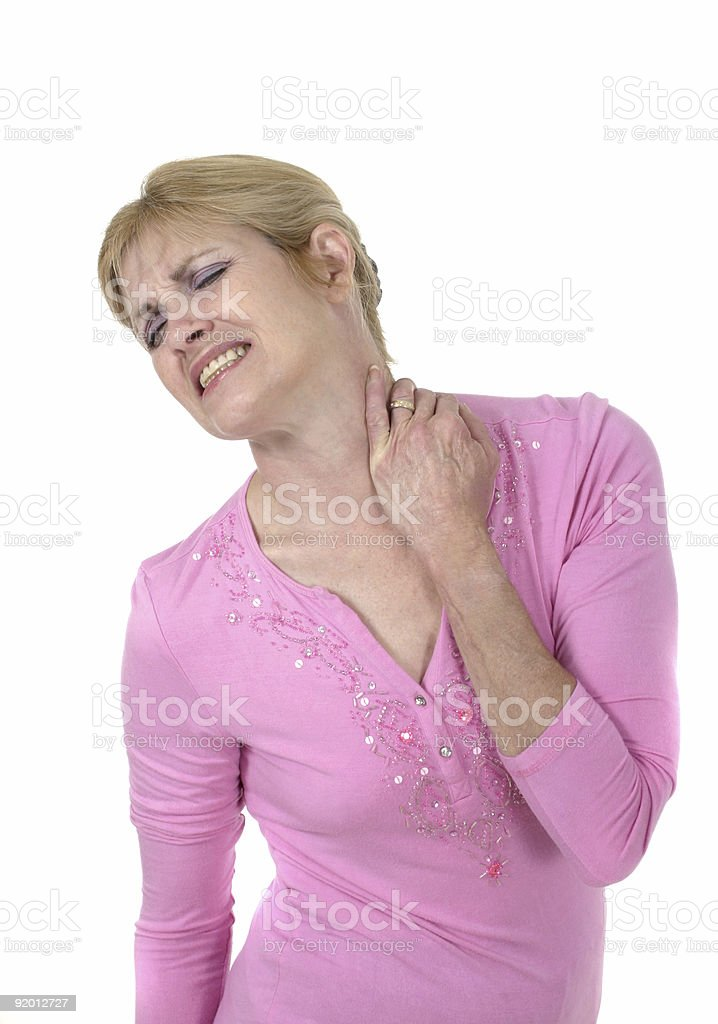 Woman With Severe Neck Pain 3 stock photo