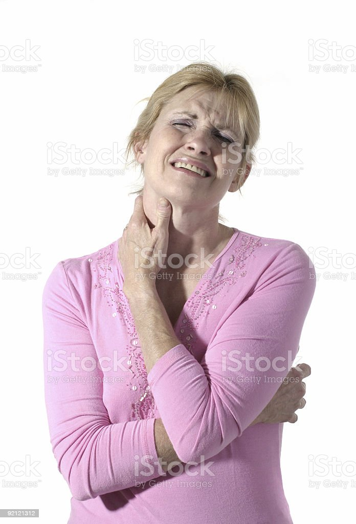 Woman With Severe Neck Pain 6 stock photo
