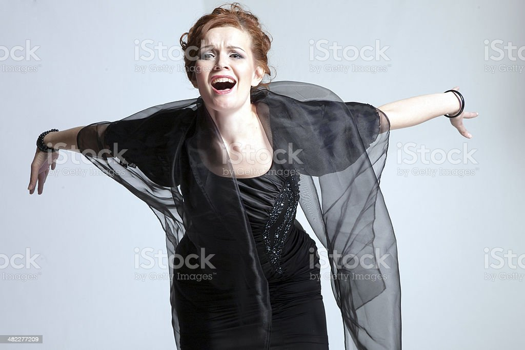 woman with shawl royalty-free stock photo