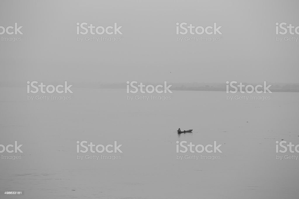 Woman with ship stock photo