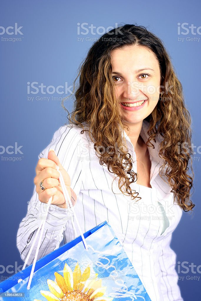 Woman with shopping bag royalty-free stock photo