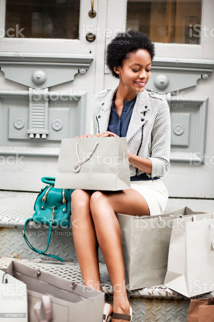 Woman with shopping bags in New York royalty-free stock photo