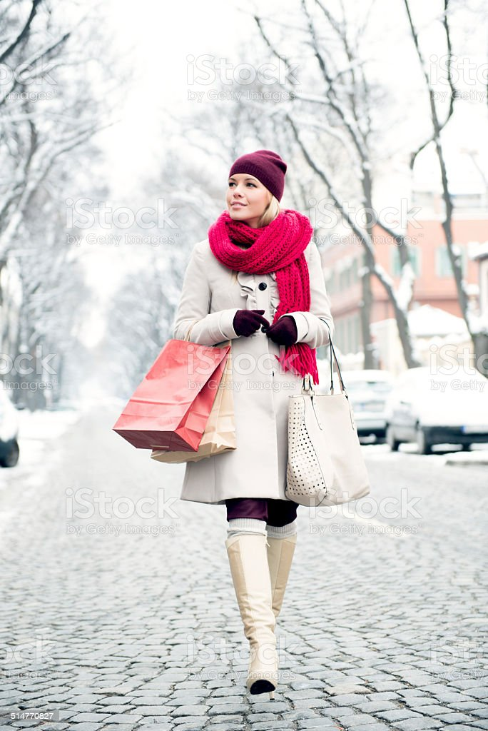 Woman with shopping bags stock photo