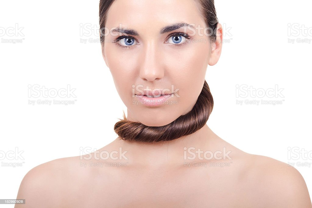woman with silky hair royalty-free stock photo