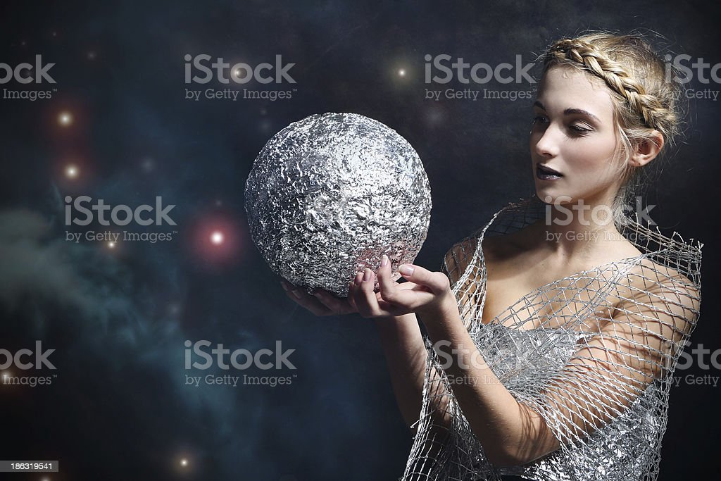 woman with silver bullet stock photo