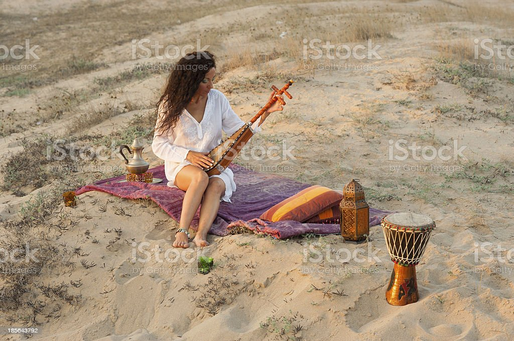Woman with sitar royalty-free stock photo