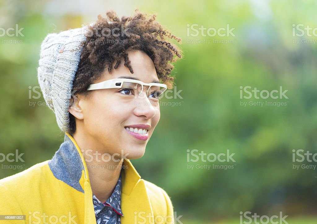 Woman with smart glasses royalty-free stock photo