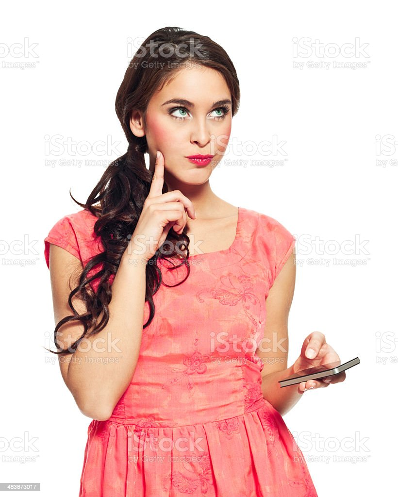 Woman with smart phone royalty-free stock photo