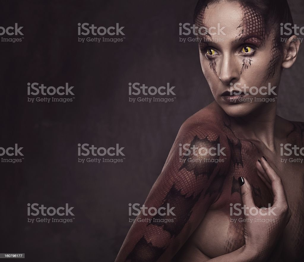 Woman with snake body-art royalty-free stock photo