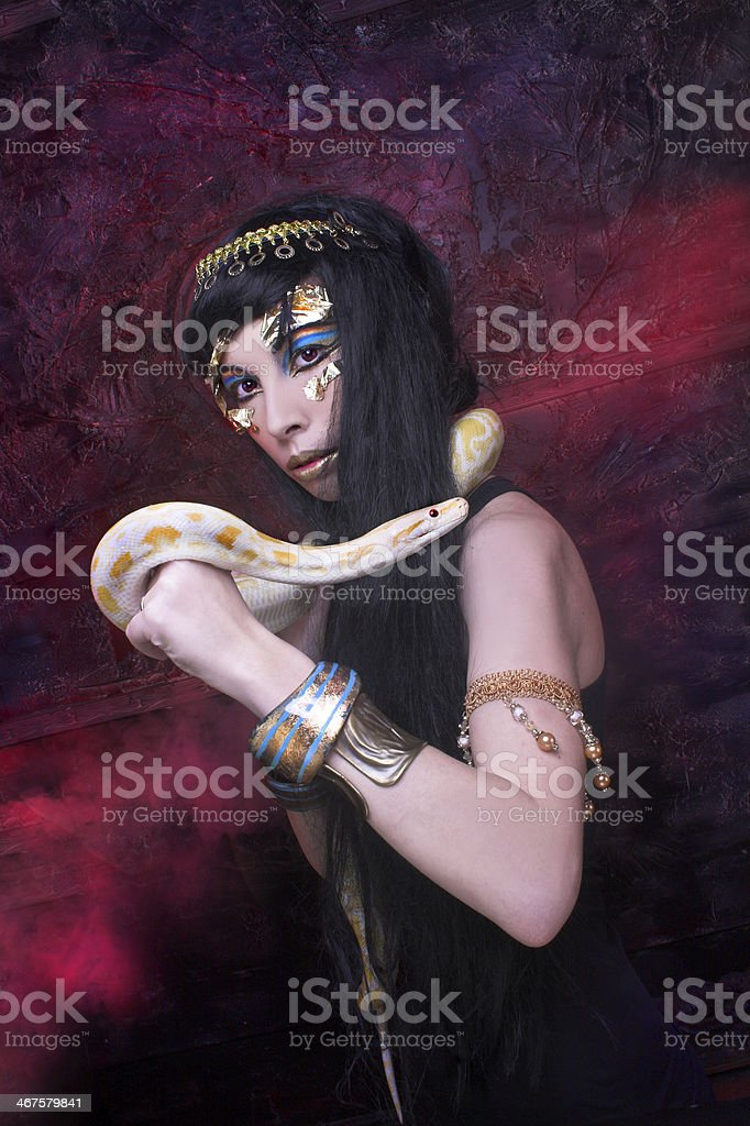 Woman with snake. stock photo