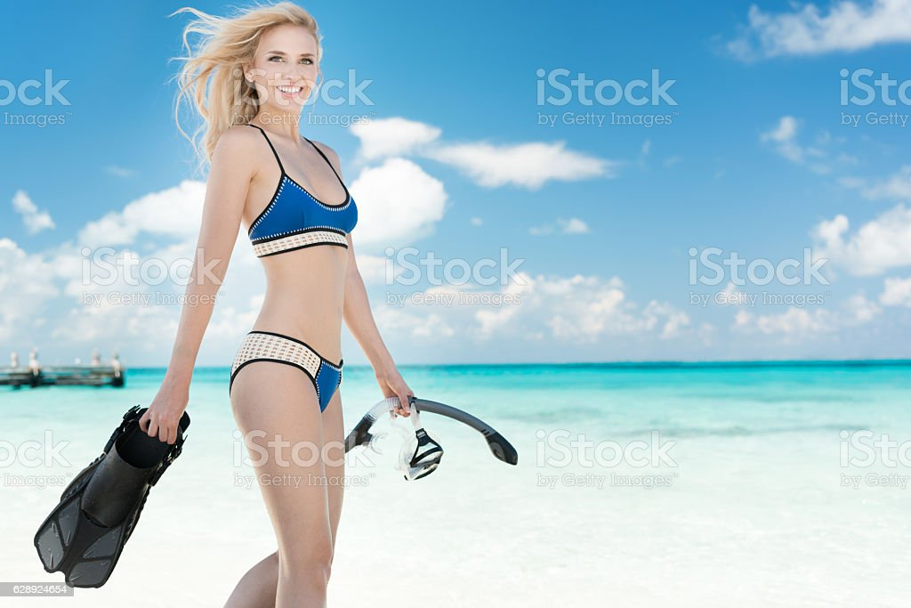 Woman with Snorkeling Gear, Mexico stock photo