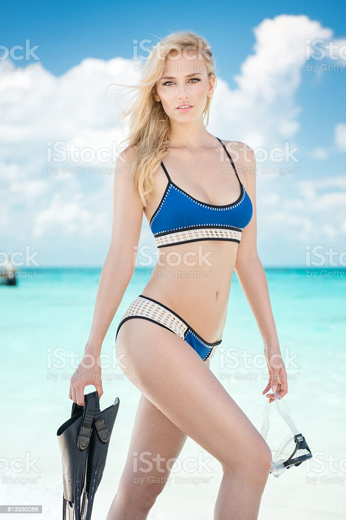 Woman with Snorkeling Gear stock photo