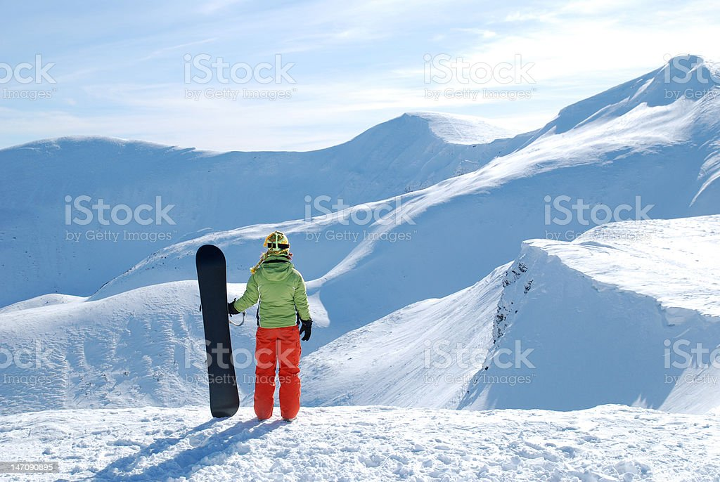 Woman with snowboard royalty-free stock photo