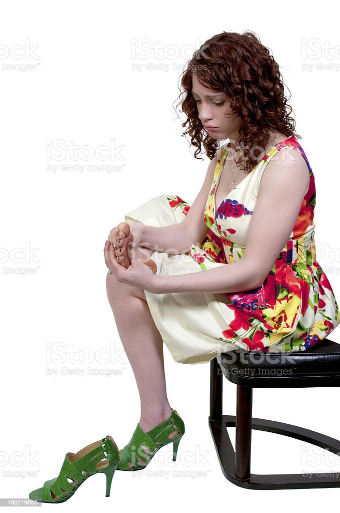 Woman with Sore Feet royalty-free stock photo