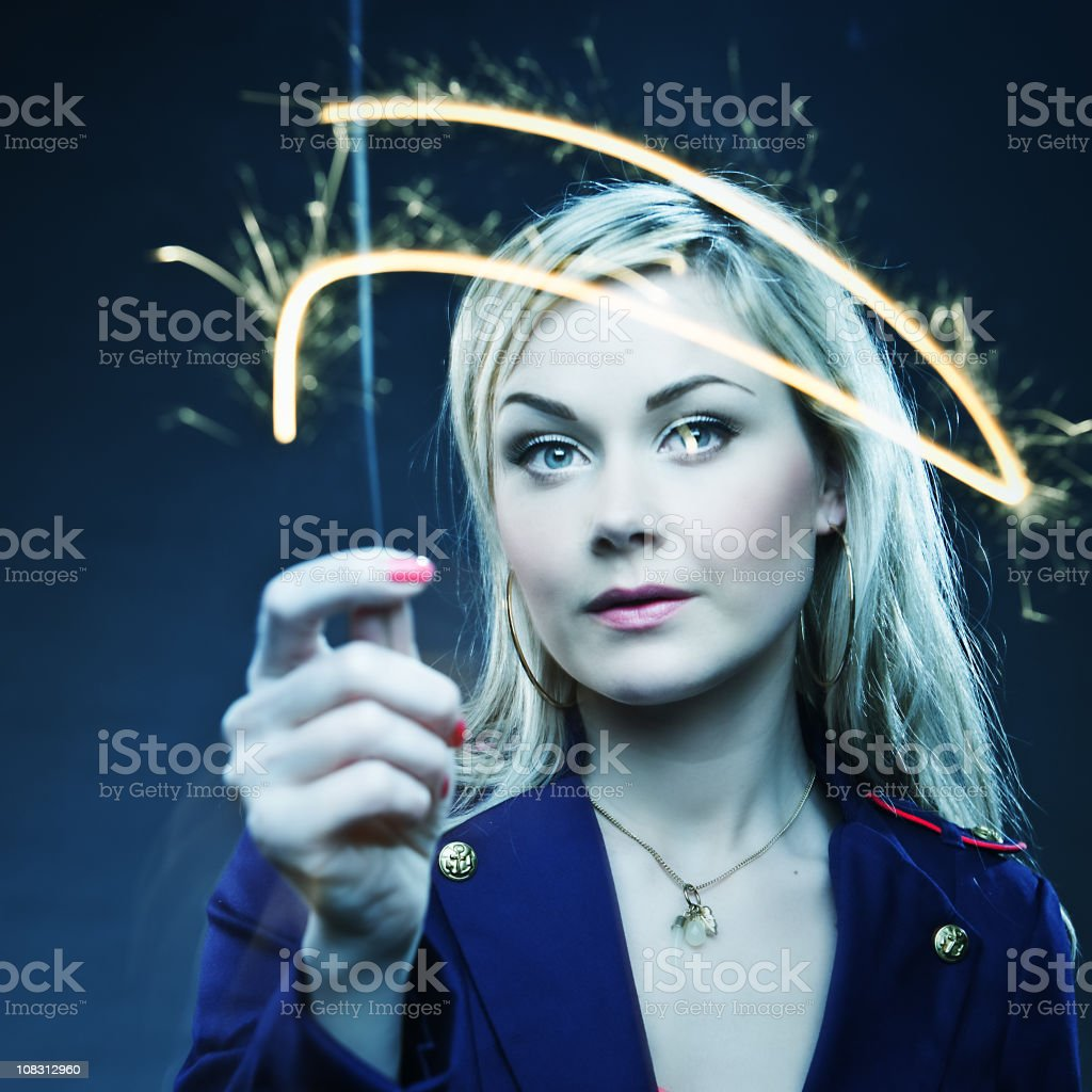 Woman with Sparkler royalty-free stock photo