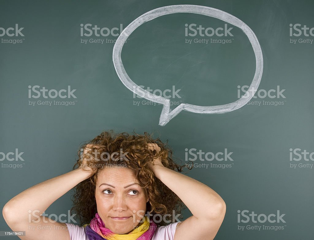 Woman with speech bubble royalty-free stock photo