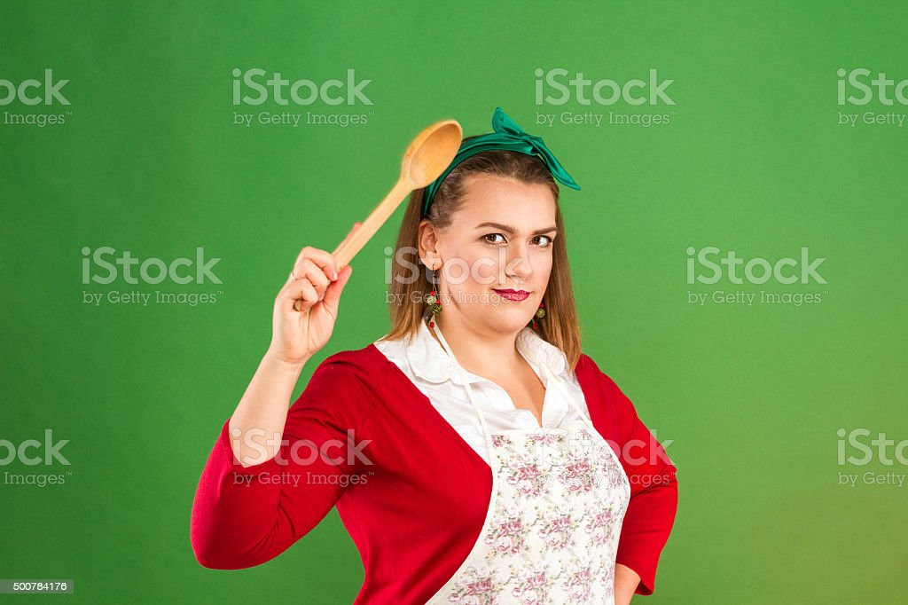 Woman with spoon royalty-free stock photo