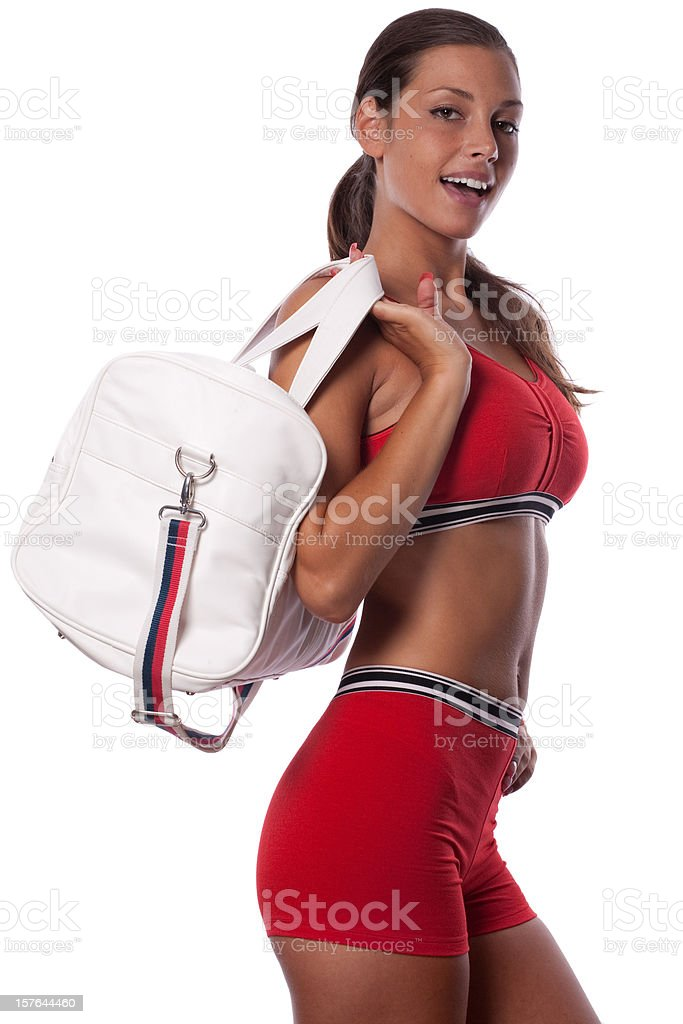 Woman with sports bag royalty-free stock photo