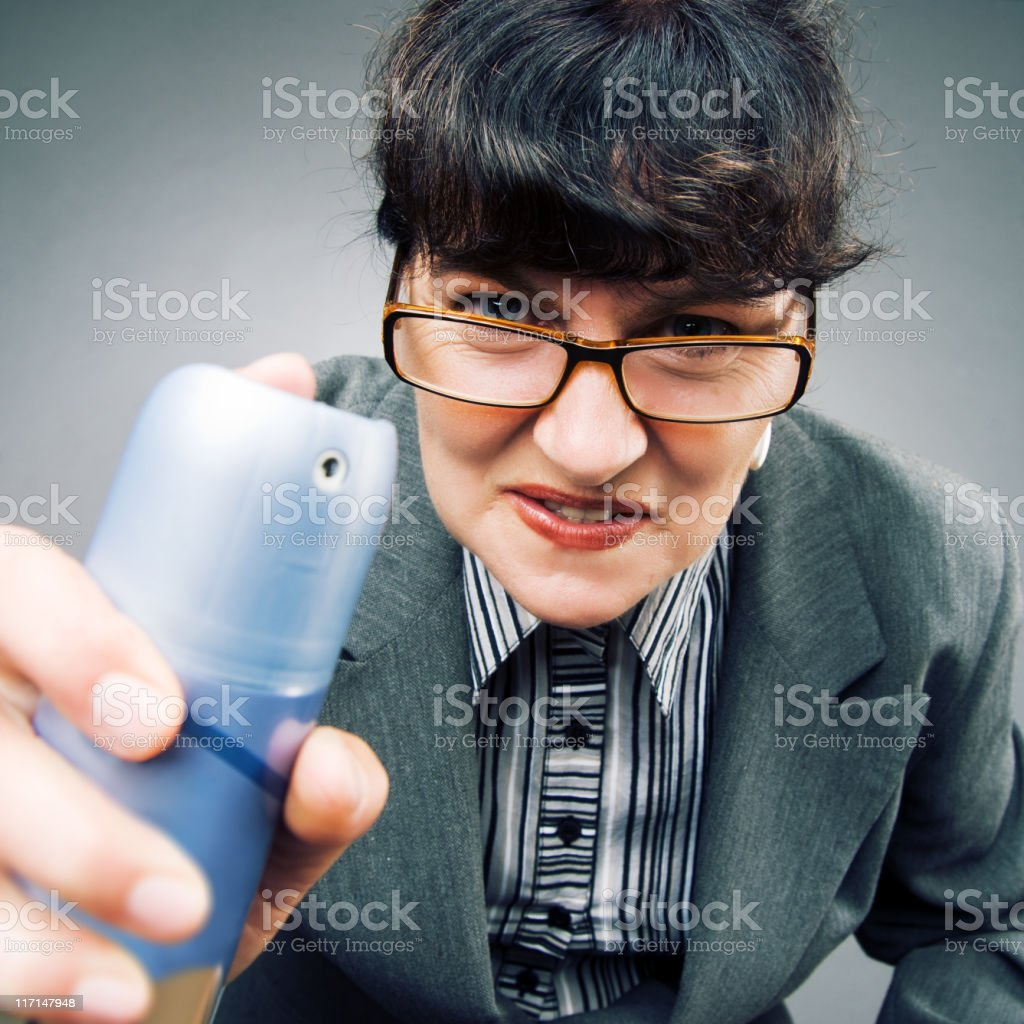 Woman with spray can stock photo