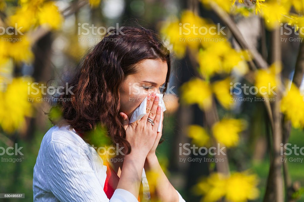 Woman with spring flu stock photo
