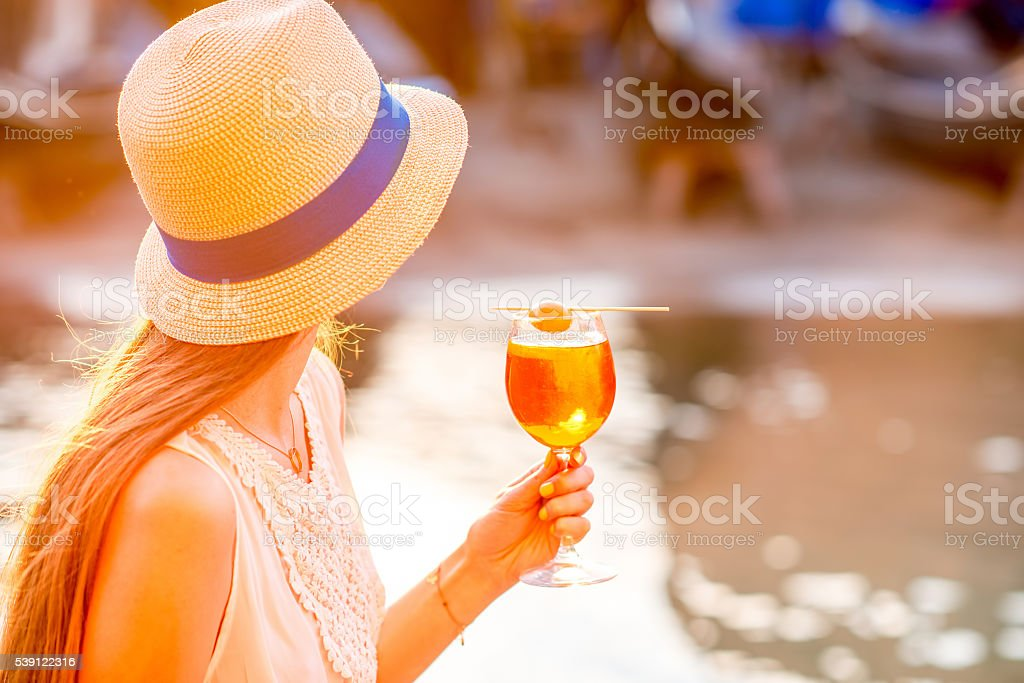 Woman with Spritz Aperol drink stock photo