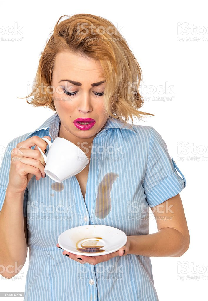 Woman with stains on shirt stock photo